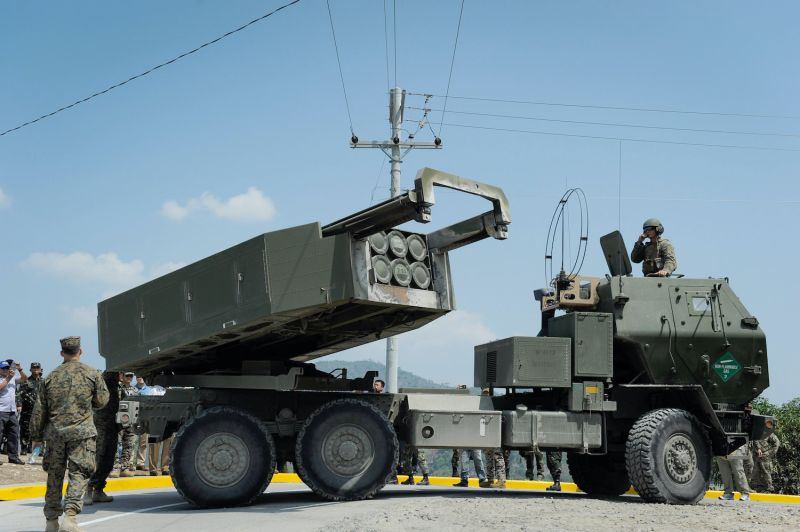 A U.S.-made HIMARS is on during fire exercises in the Philippines.