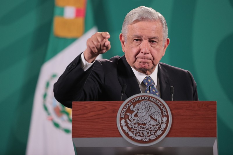 President Andres Manuel Lopez Obrador gestures during the daily briefing at Palacio Nacional in Mexico City on May 5.