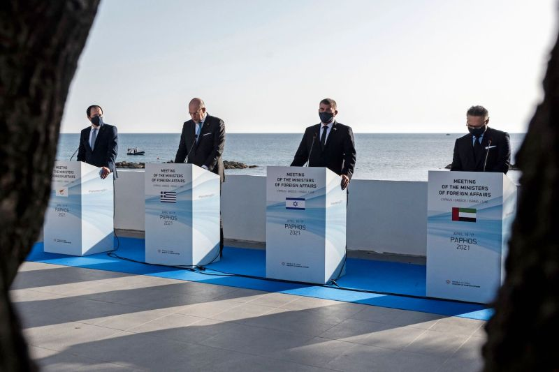 Cypriot Foreign Affairs Minister Nikos Christodoulides, Greek Foreign Minister Nikos Dendias, Israeli Foreign Affairs Minister Gabi Ashkenazi, and Emirati Presidential Advisor Anwar Gargash hold a press conference after meeting in the western Cypriot city of Paphos, on April 16.