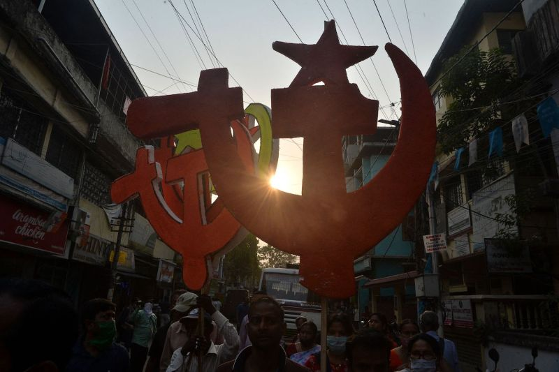 Supporters of the Indian National Congress party supported the Communist Party of India's march during the fifth phase of legislative assembly elections in Siliguri, India, on April 13.