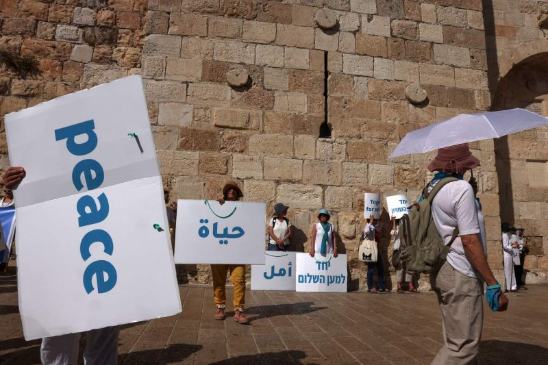 Members of Women Wage Peace, an Israeli grassroots peace movement, take part in a rally calling for coexistence and an end to the Israeli-Palestinian conflict in Jerusalem on May 19.