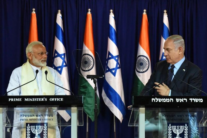 Indian Prime Minister Narendra Modi and Israeli Prime Minister Benjamin Netanyahu make a joint statement at Netanyahu's residence in Jerusalem on July 4, 2017.
