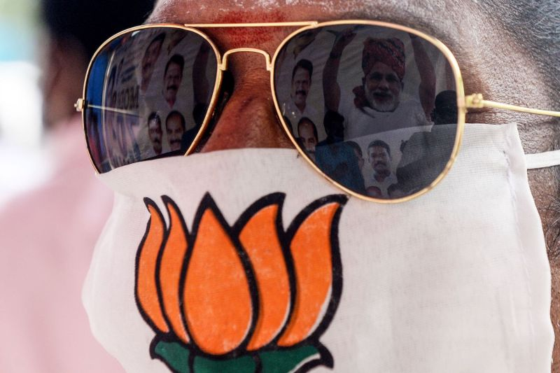 A Bharatiya Janata Party member wears a face mask at birthday celebrations for Indian Prime Minister Narendra Modi in Chennai, India, on Sept. 16, 2020.