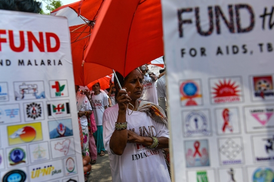 An Indian woman with HIV takes part in a rally in New Delhi