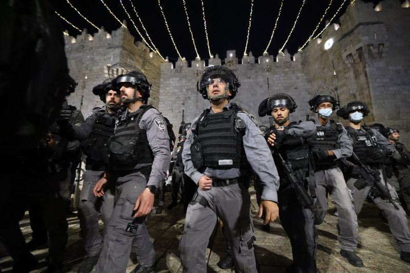 Israeli security forces patrol outside the Damascus Gate in Jerusalem's Old City on April 24.