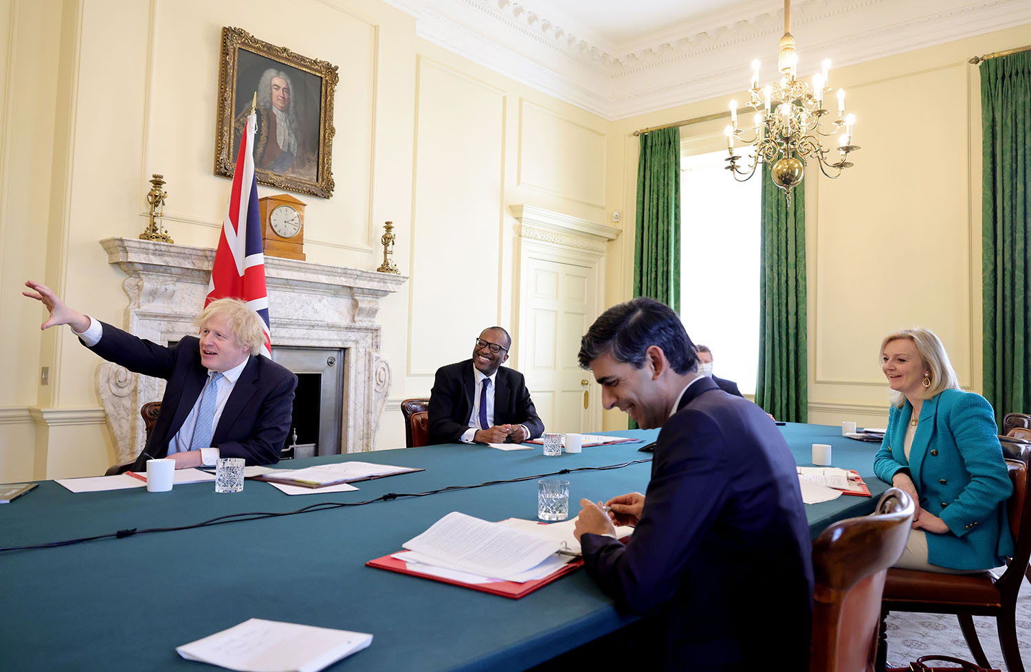 British Prime Minister Boris Johnson meets with members of his Build Back Better Business Council including Kwasi Kwarteng