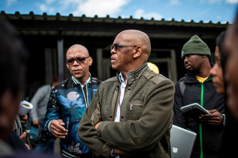 "Then-African National Congress Secretary-General Elias Sekgobelo ""Ace"" Magashule speaks to the media during a party meeting on land expropriation policy in Johannesburg on May 19, 2018."
