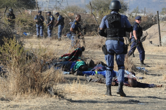 Police surround miners killed during clashes with police