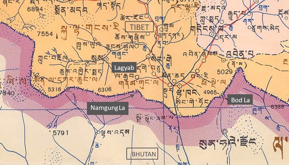 Detail from the official Tibetan-language map of the TAR, published by the Chinese authorities in 1981.