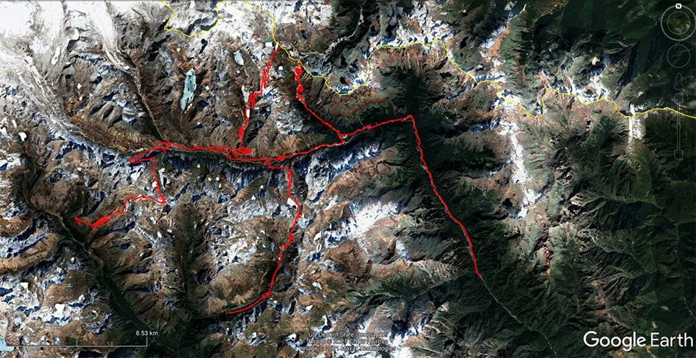 Since 2015, China has constructed six new roads in the Beyul (shown here in January 2021) and one in the Menchuma Valley. The roads, which have all been built south of the Bhutanese border (marked in yellow), cover approximately 66 miles so far.