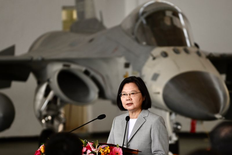 Taiwan's President Tsai Ing-wen visits an air force base