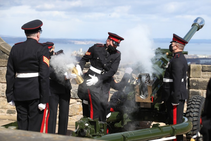 Members of the 105th Regiment Royal Artillery fire a 41-round gun salute to mark the death of the Duke of Edinburgh at Edinburgh Castle on April 10.