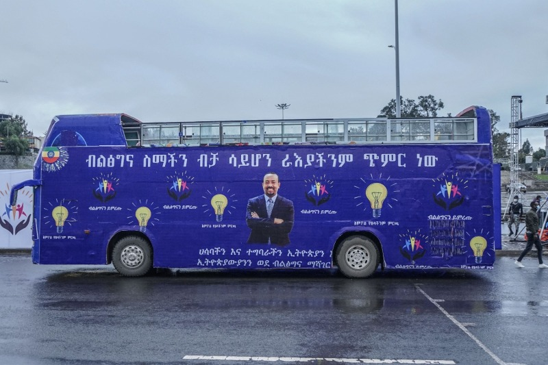A campaign bus for Ethiopian Prime Minister Abiy Ahmed's Prosperity Party in Addis Ababa on May 7.