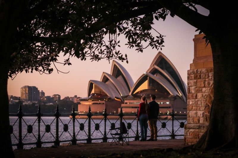 The Sydney Opera House at dawn.