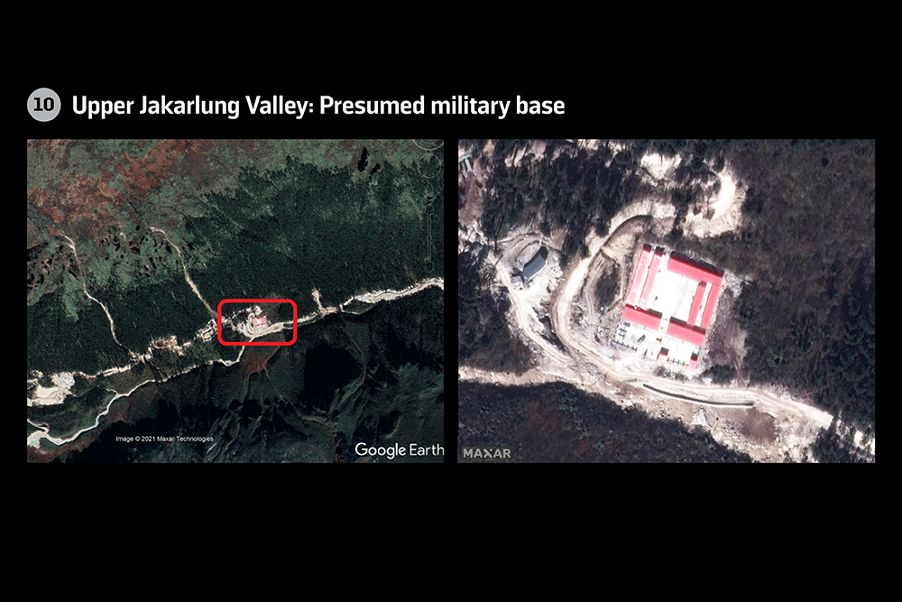 Presumed military base in the upper Jakarlung Valley in Bhutan.