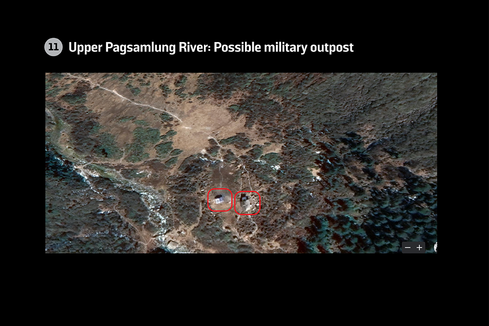 Possible military outpost on the upper Pagsamlung River in Bhutan.