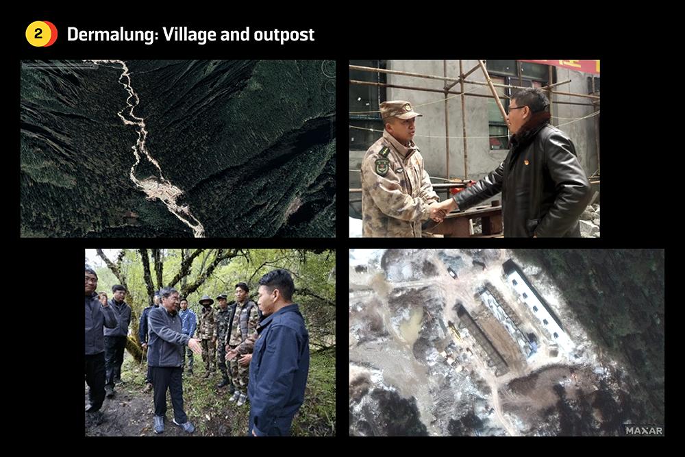 The village of Dermalung under construction in Bhutan.