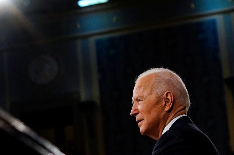 Biden addresses Congress at the Capitol.