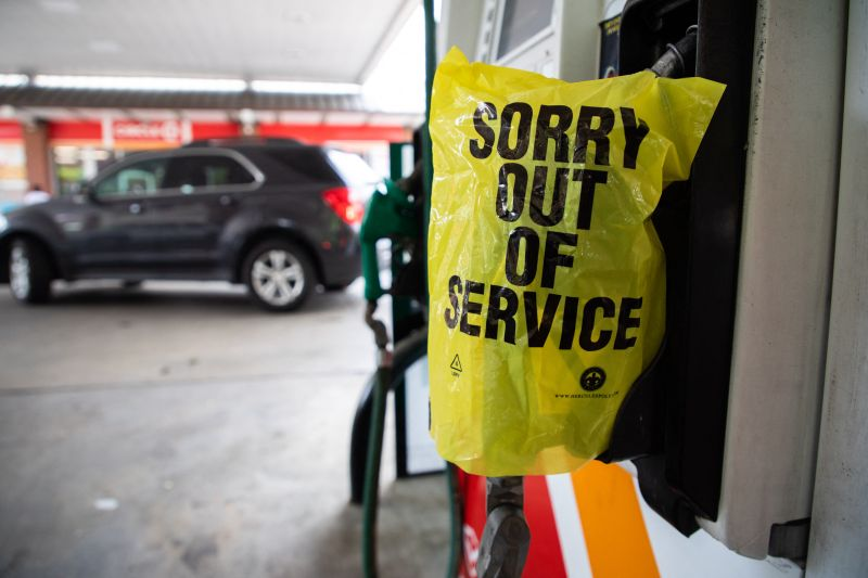 A gasoline pump is out of service near Charlotte, North Carolina following a ransomware attack that shut down the Colonial Pipeline, on May 11.