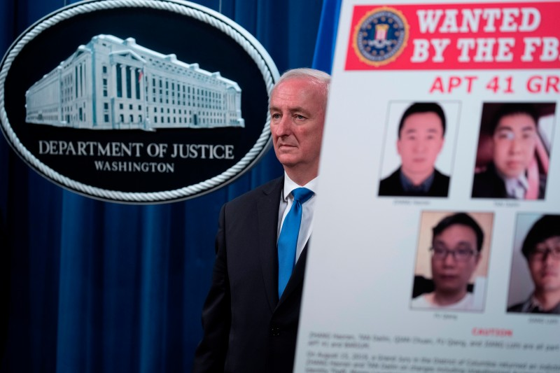 U.S. Deputy Attorney General Jeffrey A. Rosen at a press conference concerning a hacking campaign tied to the Chinese government at the U.S. Department of Justice in Washington on  Sept. 16, 2020.