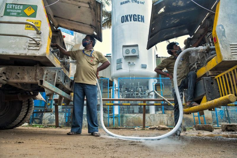 A tanker gets refilled with medical oxygen for hospitals and medical facilities treating coronavirus patients in Bengaluru on May 5.