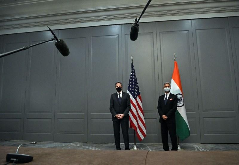 U.S. Secretary of State Antony Blinken attends a press conference.