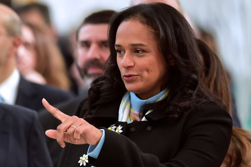 Angolan businesswoman Isabel dos Santos visits the Portuguese corporation Efacec's new electric mobility industrial unit in Maia, Portugal, on Feb. 5, 2018.
