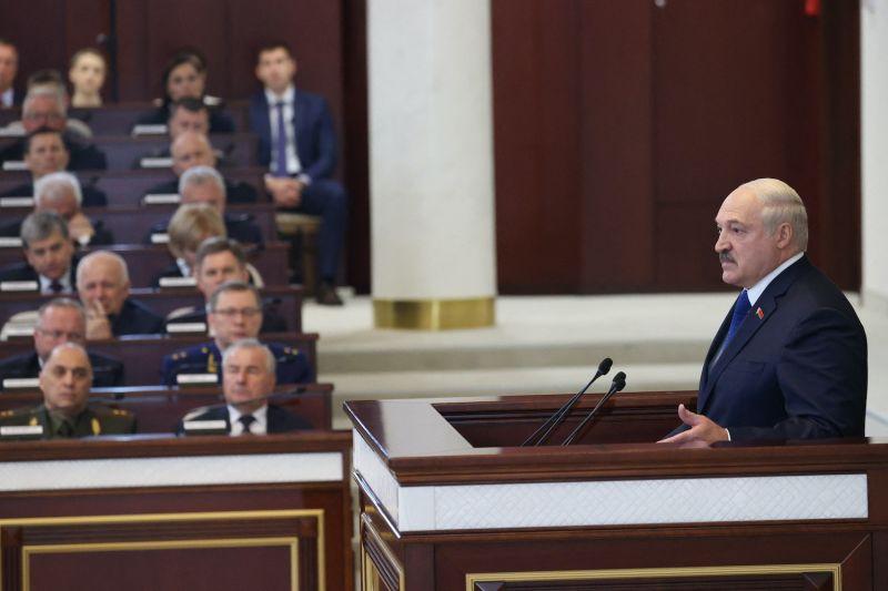 Belarusian President Aleksandr Lukashenko speaks in parliament in Minsk on May 26.