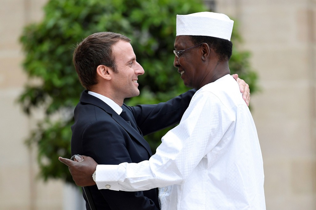 French President Emmanuel Macron greets Chadian President Idriss Déby as he arrived at the Élysée Palace in Paris on July 11, 2017. Déby died in battle earlier this year.