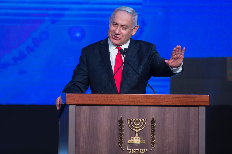 Israeli Prime Minster Benjamin Netanyahu speaks to the Likud party.