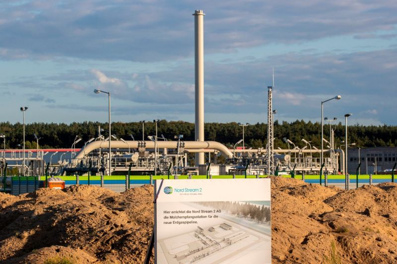 The Nord Stream 2 gas line landfall facility is located in Lubmin, Germany, on Sept. 7, 2020.