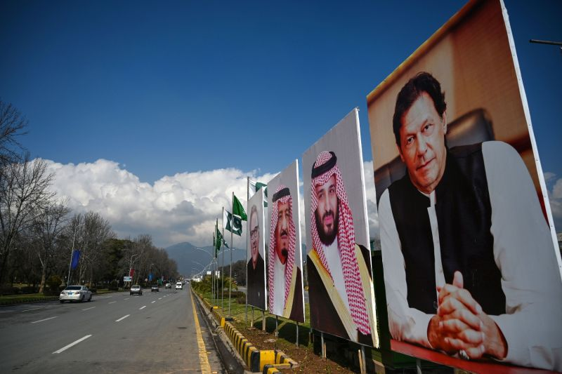 Billboards feature Mohammed bin Salman and Imran Khan.