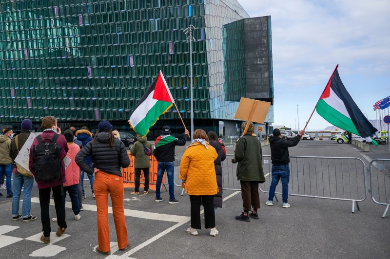 Protesters wave Palestinian flags in Iceland.
