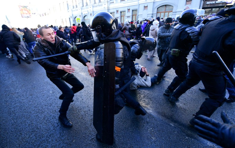 Protest in support of Alexei Navalny in Vladivostok, Russia