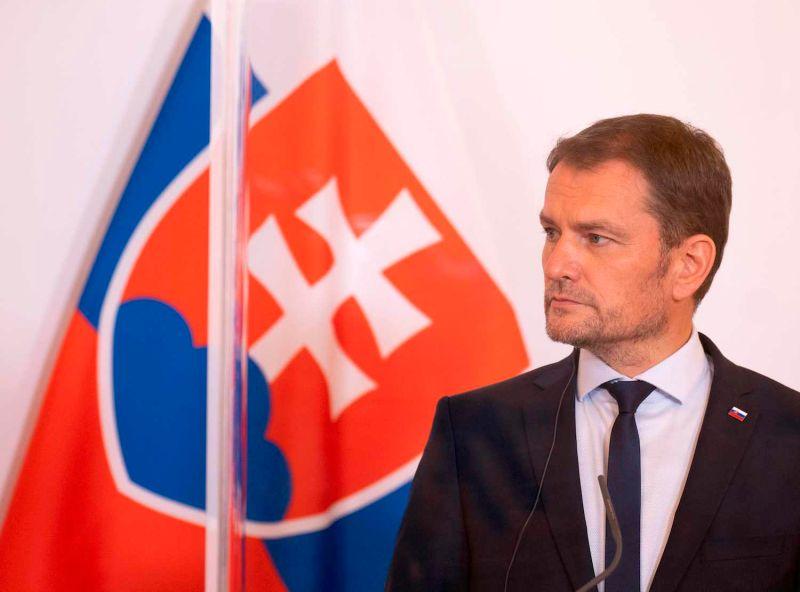 Slovak Prime Minister Igor Matovic attends a press conference in Vienna.