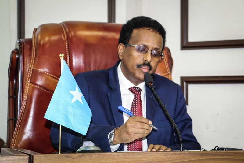 Somalia's President Mohamed Abdullahi Mohamed, commonly known by his nickname of Farmajo, attends the special assembly for abandoning the two-year extension of his presidential term at Villa Hargeisa in Mogadishu on May 1.