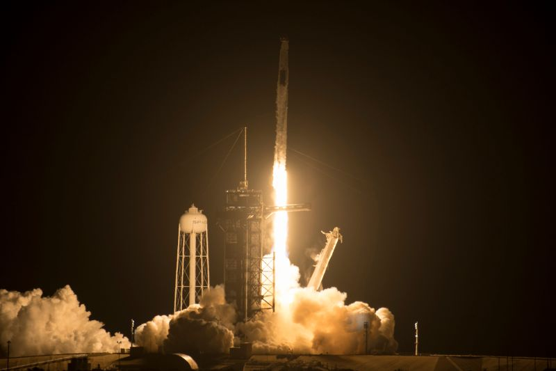 A SpaceX Falcon 9 rocket is launched.