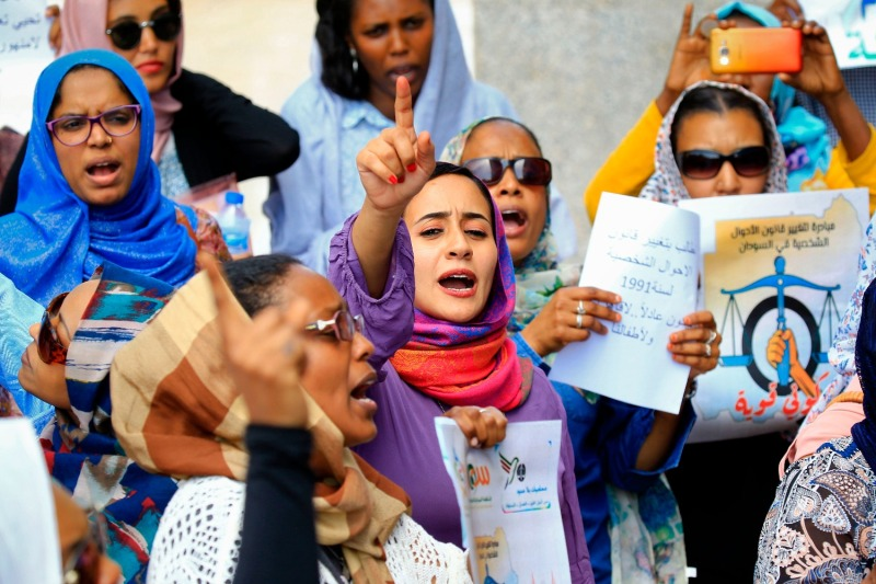 Women chant slogans during a demonstration calling for the repeal of family law in Sudan outside the Sudanese Ministry of Justice on International Women's Day in Khartoum, March 8, 2020.