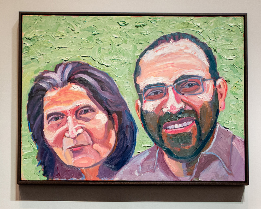 A portrait by the former president of Tony George Bush and his mother, Layla.