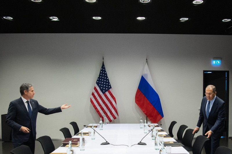 U.S. Secretary of State Antony Blinken meets with Russian Foreign Minister Sergey Lavrov.