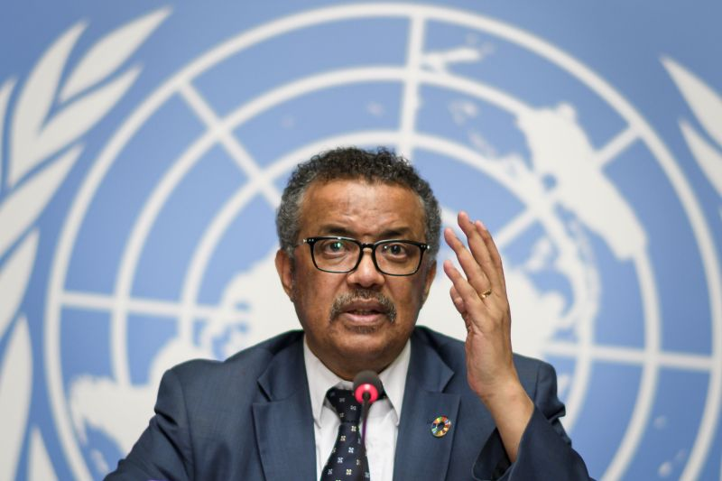 WHO Director-General Tedros at a press conference
