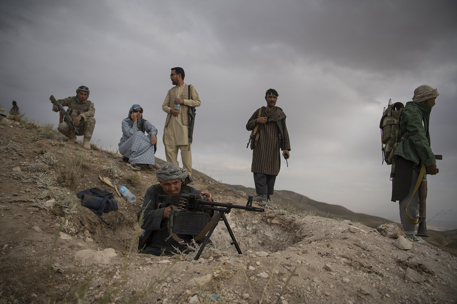 Mazari visits the Uprising forces at their post on a hill in the Charkint District on June 29.