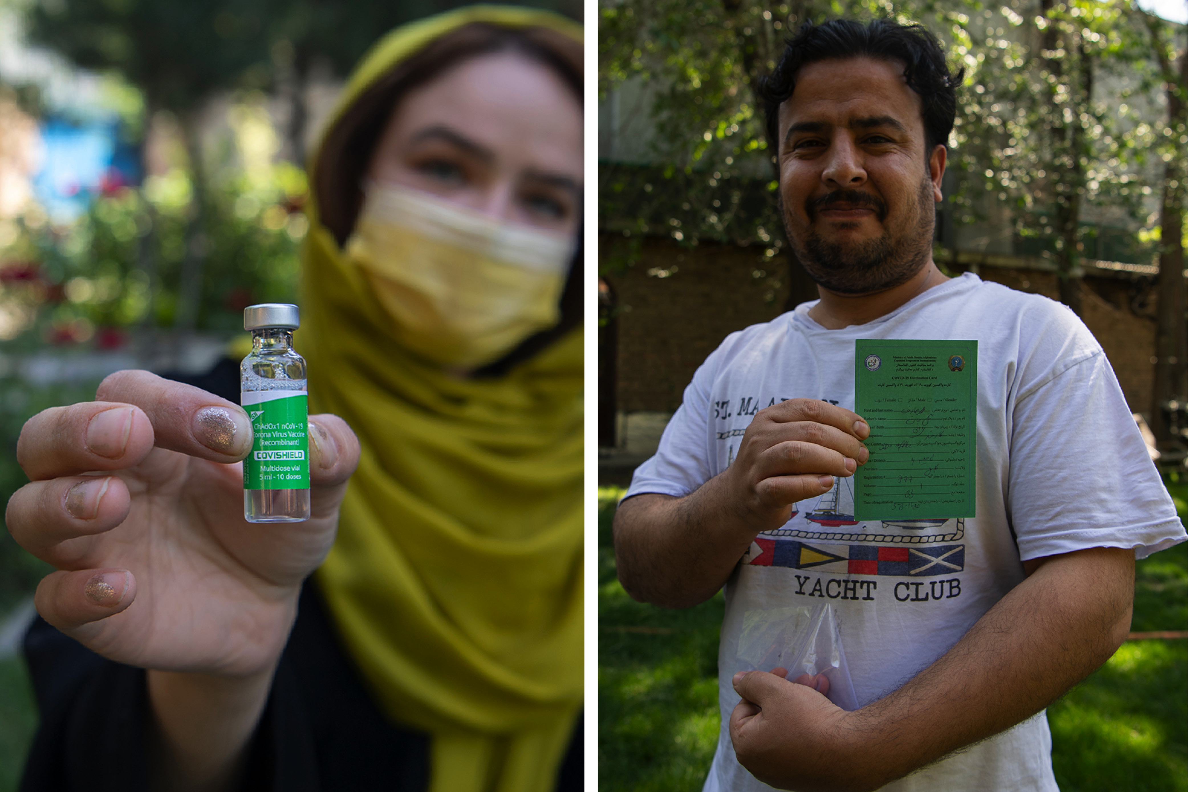 An employee of Sanayee Development Organisation shows a bottle of the vaccine (left) and a gardener shows his vaccine card after his vaccination in Kanul, Afghanistan, on May 25. Massoud Hossaini for Foreign Policy