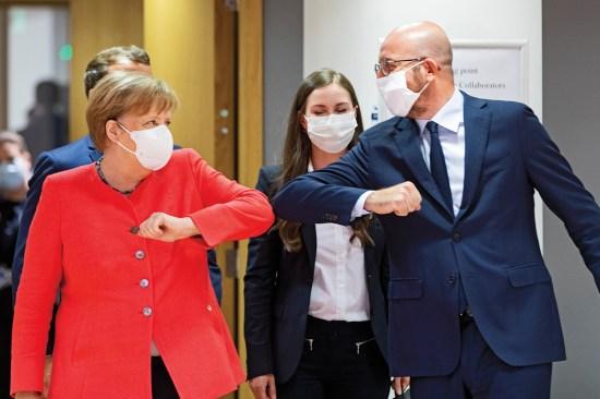 Angela Merkel and Charles Michel