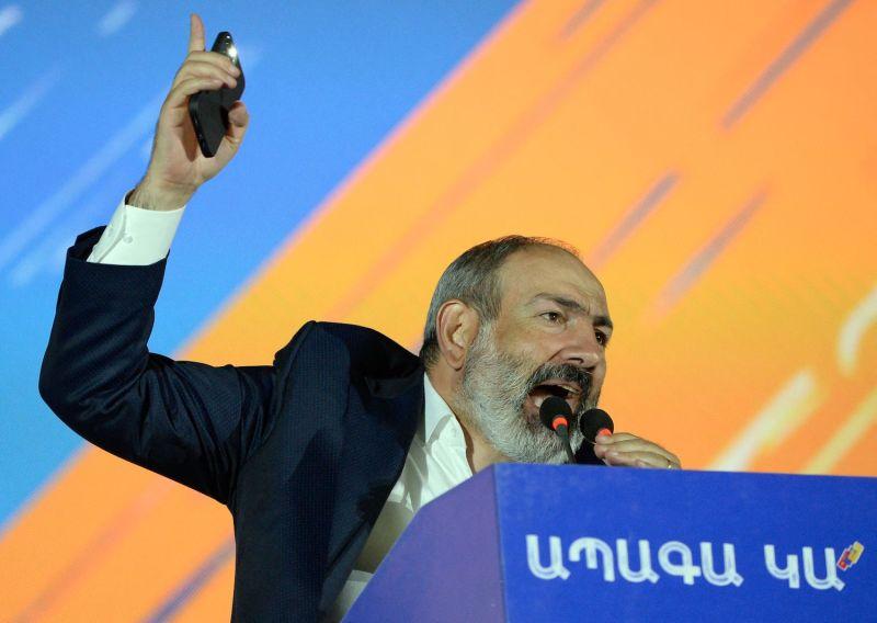 Armenian Prime Minister Nikol Pashinyan gives a speech.