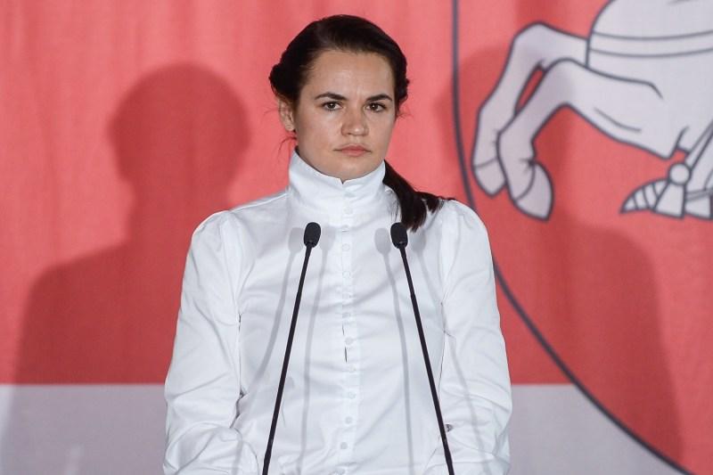 Belarusian opposition leader Svetlana Tikhanovskaya attends a meeting.