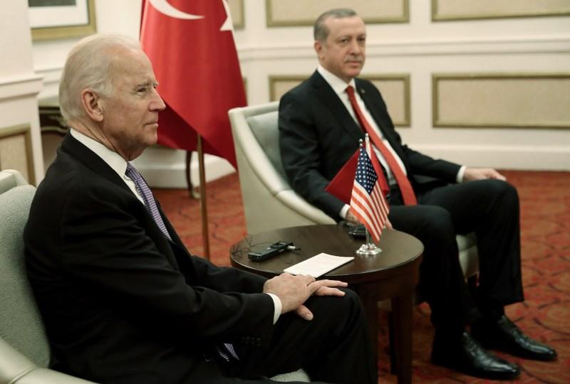 Then-U.S. Vice President Joe Biden meets with Turkish President Recep Tayyip Erdogan.