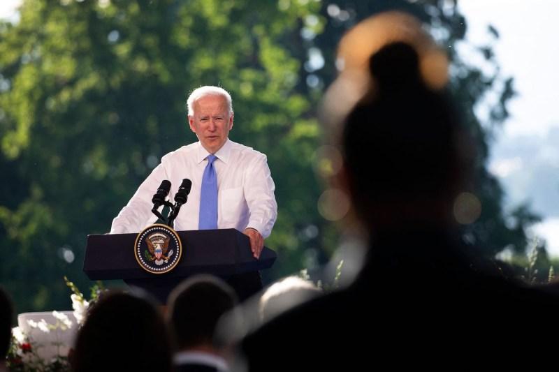 U.S. President Joe Biden holds a press conference.