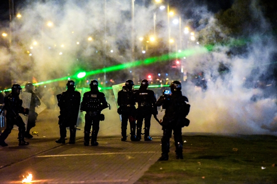 Protesters and military police clash in Bogota, Colombia