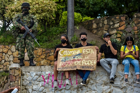 Protesters in Cali, Colombia